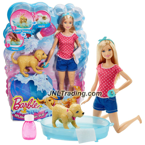 Mattel Year 2015 Barbie Pet Series 12 Inch Doll - SPLISH SPLASH PUP (DGY83) with BARBIE, Golden Retriever Puppy, Tub, Soap Bottle, Hand Brush & Towel