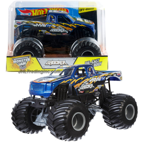 Hot Wheels Year 2015 Monster Jam 1:24 Scale Die Cast Metal Body Official Monster Truck Series #CGD71 - MAV TV SHOCKER w/ Monster Tires, Working Suspension and 4 Wheel Steering