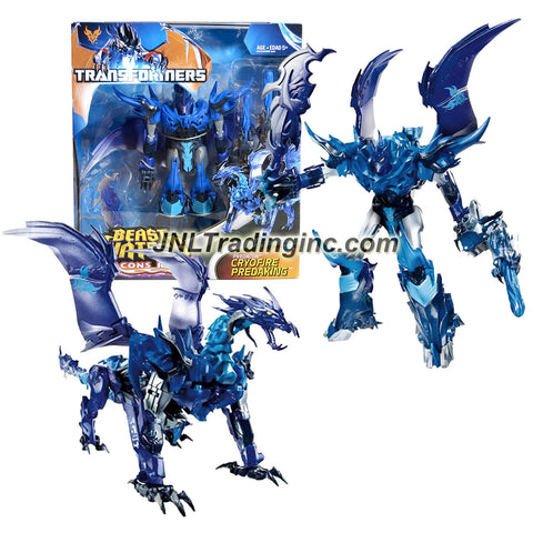 "Hasbro Year 2013 Transformers Prime ""Beast Hunters - Predacon Rising"" Series Exclusive Voyager Class 7 Inch Tall Robot Action Figure - Predacon CRYOFIRE PREDAKING with 2 Dragon-Head Missile Launcher, 2 Missiles and Sword (Beast Mode: Ice Dragon)"
