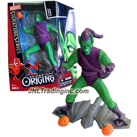 "Hasbro Marvel Legends Signature Series Spider-Man Origins 9"" Tall Fully Poseable Action Figure - GREEN GOBLIN with 2 Pumpkin Bombs and Glider"