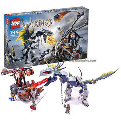 Lego Year 2006 Vikings Series Set #7021 - Viking Double Catapult vs. the Armoured Ofnir Dragon with 3 Viking Warrior Minifigures (Total Pieces: 505)