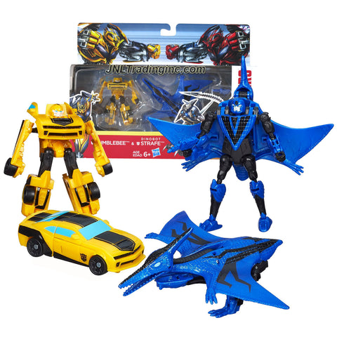 "Hasbro Year 2013 Transformers Movie Series 4 ""Age of Extinction"" Exclusive 2 Pack Action Figure Set - Legend Class Autobot BUMBLEBEE (Vehicle Mode: Camaro) and Scout Class Dinobot STRAFE (Beast Mode: Pteranodon)"