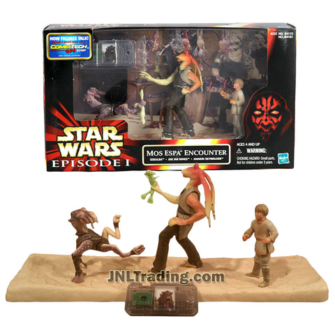 Star Wars Year 1999 Episode 1 The Phantom Menace Series 4 Inch Tall Figure Set - MOS ESPA ENCOUNTER with Sebulba, Jar Jar Binks and Anakin Skywalker Plus CommTech Chip and Display Base
