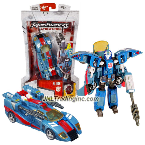 Hasbro Year 2005 Transformers Cybertron Series Deluxe Class 6 Inch Tall Robot Action Figure - Autobot BLURR with 2 Turbo Rocket Launchers, 2 Missiles and Speed Planet Cyber Key (Vehicle Mode: Hi Tech Race Car)