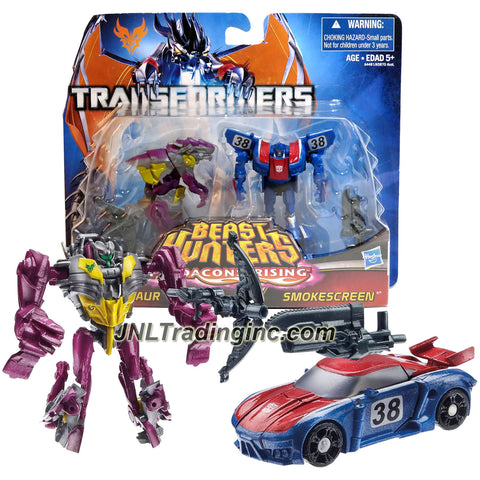 "Hasbro Year 2013 Transformers Prime ""Beast Hunters - Predacon Rising"" Series 2 Pack 3 Inch Tall Legion Class Robot Action Figure - CINDERSAUR (Beast Mode: Lizard Monster) with Crossbow and Autobot SMOKESCREEN (Vehicle Mode: Race Car) with Sword"