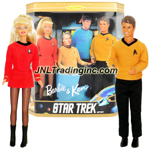 "Mattel Year 1996 Barbie 30th Anniversary Collector Edition Star Trek Series 2 Pack 12"" Doll Set - Command Officer KEN in Gold Insignia Jersey with Phaser and Commiunicator Plus Engineering Officer BARBIE in Red Insignia Uniform with Tricorder and Communicator"