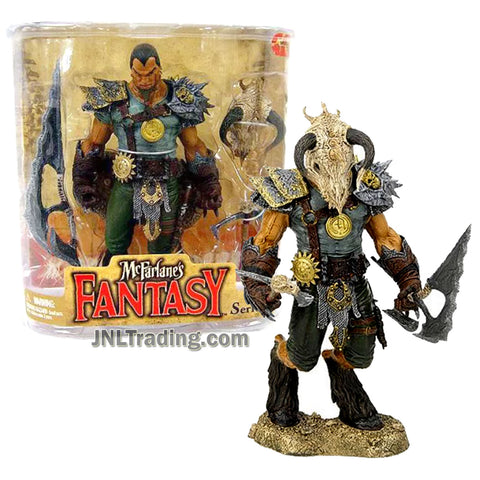 Year 2008 McFarlane Fantasy Legend of the Blade Hunters Series 7 Inch Tall Figure - Dragon Rider TYR with  Animal Skull Helmet, Sword, Axe and Display Base