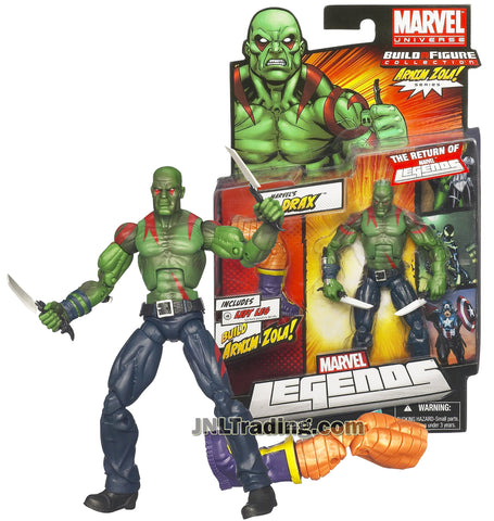 Marvel Legends Year 2011 Arnim Zola Series 6 Inch Tall Figure #2 - Marvel's DRAX with Battle Knives and Arnim Zola Left Leg