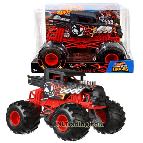 Hot Wheels Year 2018 Monster Jam 1:24 Scale Die Cast Metal Body Official Truck - BONE SHAKER FYJ86 with Monster Tires, Working Suspension and 4 Wheel Steering