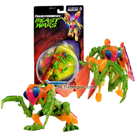 Transformer Year 1998 Beast Wars Fuzors Series Basic Class 5 Inch Tall Robot Action Figure - Evil Predacon Ferocious Saboteur Robot BUZZCLAW (Animal Mode: Mantis/Lizard)