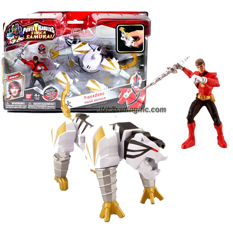 "Bandai Year 2012 Power Rangers Samurai Series Action Figure Zord Set - TIGER ZORD with 4 Inch Tall Fire Red Mega Ranger ""Jayden"" and Removable Mask"