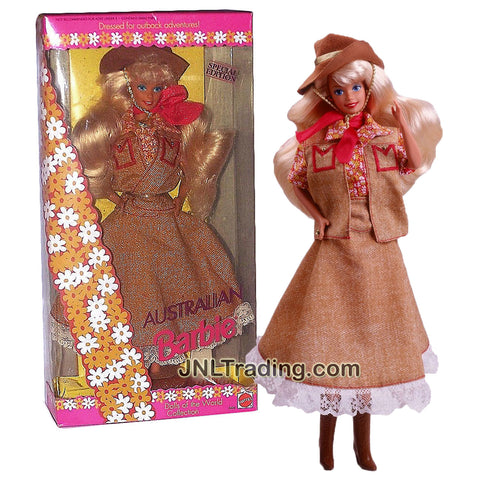 Year 1992 Barbie Special Edition Dolls of the World Series 12 Inch Doll - AUSTRALIAN Barbie with Hat, Scarf, Hairbrush and Doll Stand