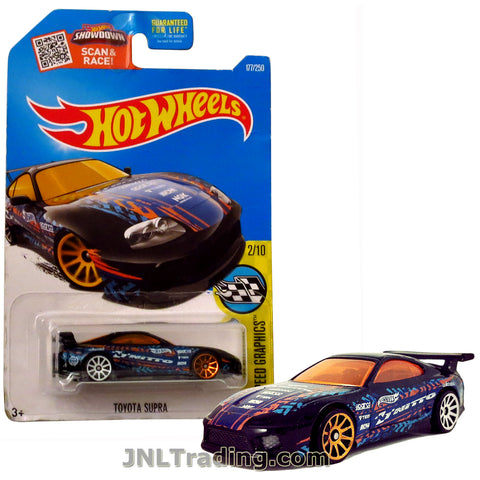 Hot Wheels Year 2015 Scan & Race Series 1:64 Scale Die Cast Car Set #177 - HW SPEED GRAPHICS (2/10) Black Sports Car TOYOTA SUPRA with Blue Orange White Graphics DHX55