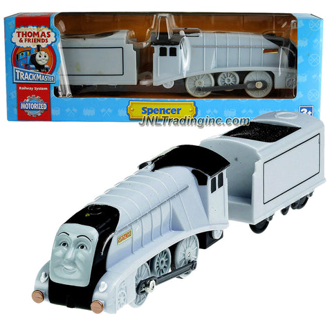 HiT Toys Year 2008 Thomas and Friends Trackmaster Motorized Railway Battery Powered Tank Engine 2 Pack Train Set - SPENCER the Silver Color Luxury Steam Locomotive with Coal Loaded Car