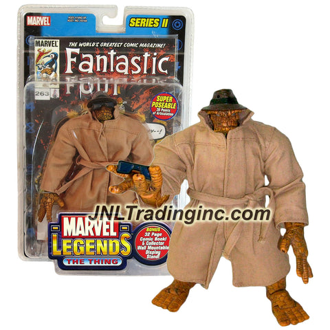 ToyBiz Year 2002 Series II Marvel Legends 7 Inch Tall Action Figure with 30 Points of Articulations - Variant THE THING with Hat, Sunglasses and Coat Plus 32 Page Comic & Wall Mountable Display Stand
