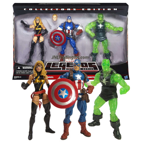 "Hasbro Year 2014 Marvel Legends Infinite Series Collector Edition 3 Pack 6"" Tall Action Figure - MS. MARVEL, CAPTAIN AMERICA with Alternative Head & RADIOACTIVE MAN"