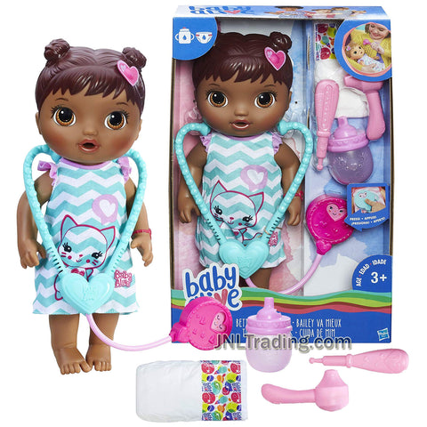 Year 2016 Baby BA Alive Series 12 Inch Doll Set - Better Now Bailey (African American Version) with Stethoscope, Thermometer, Otoscope, Sippy Cup and Diaper