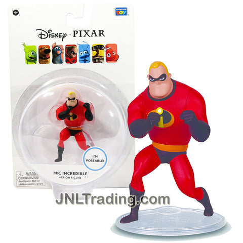 Thinkway Toys Disney Pixar The Incredibles Movie Series 2-1/2 Inch Tall Poseable Action Figure - MR. INCREDIBLE with Display Base