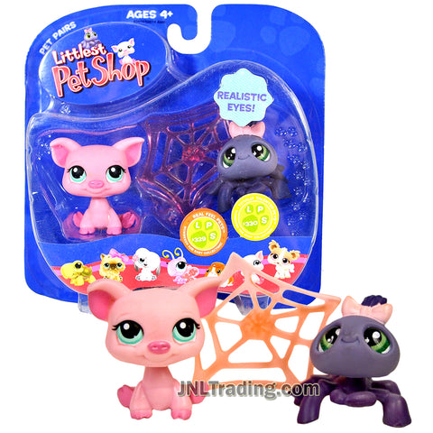 Year 2007 Littlest Pet Shop LPS Pet Pairs Series Bobble Head Figure - Pig #329 and Spider #330 with Realistic Eyes and Cobweb