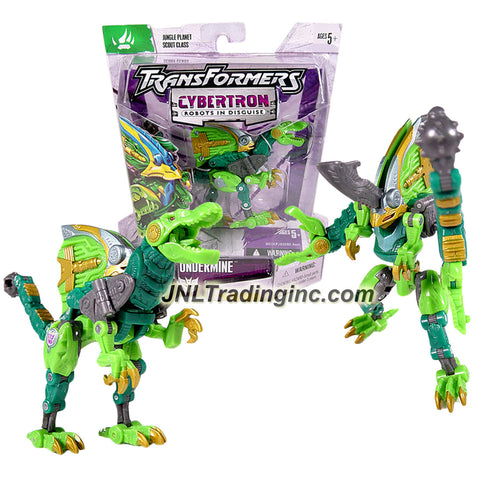Year 2005 Transformers Cybertron Series Jungle Planet Scout Class 4-1/2 Inch Tall Figure - UNDERMINE with Snap Out Ramming Blade and Battle Mace Tail (Beast Mode: Velociraptor)