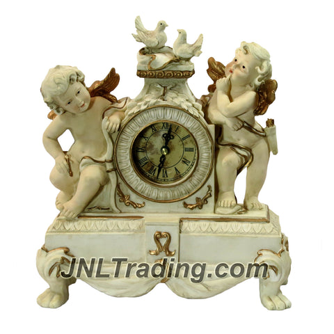 Giovanni Giftware Collection Handmade Collector Clock with Antique Finish Look Plus 2 Cupid Angels and a Pair of Doves