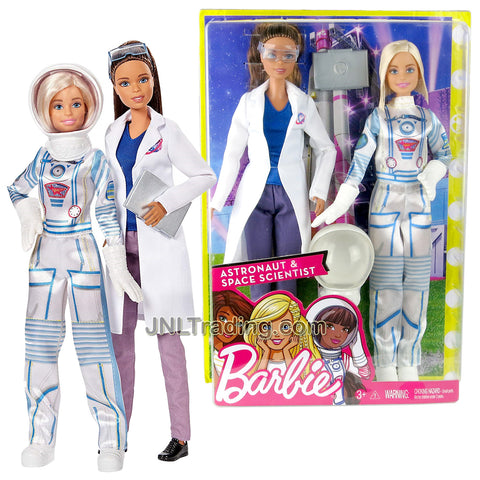 Year 2017 Barbie Career You Can Be Anything Series 2 Pack 12 Inch Doll - African American SPACE SCIENTIST with Goggles and Laptop Plus Caucasian ASTRONAUT with Removable Helmet