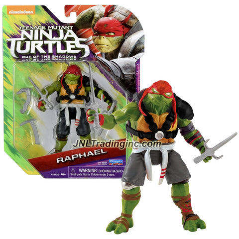 Playmates Year 2016 Teenage Mutant Ninja Turtles TMNT Movie Out of the Shadow Series 5 Inch Tall Action Figure - RAPHAEL with Sais and Kamas