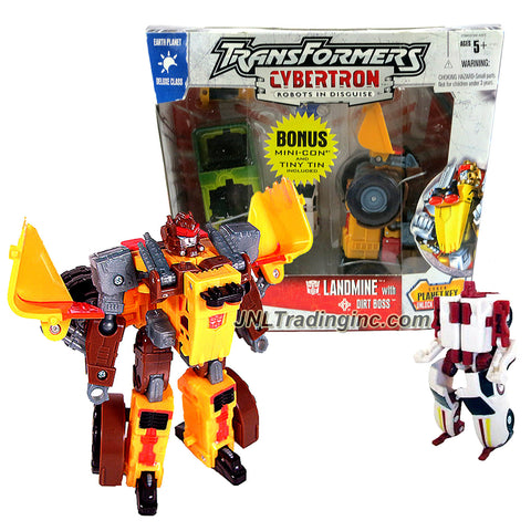 Transformer Year 2005  Exclusive Cybertron Series Deluxe Class 6 Inch Tall Figure - LANDMINE with Missile Launcher and Cyber Planet Key Plus Mini-Con DIRT BOSS with Tin Box