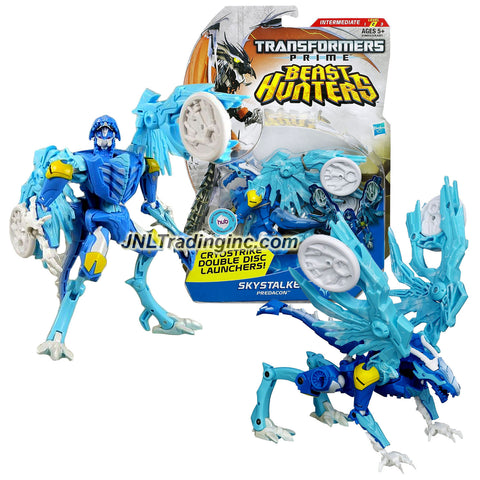 "Hasbro Year 2012 Transformers Prime ""Beast Hunters"" Series Deluxe Class 6 Inch Tall Robot Action Figure - Predacon SKYSTALKER with Cryostrike Double Disc Launchers, 2 Discs and Tail that Changes to Mace (Beast Mode: Ice Dragon)"