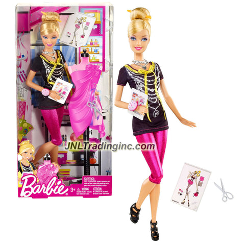 "Mattel Year 2011 Barbie ""I Can Be"" Series 12 Inch Doll Set - Fashion Designer BARBIE (X2887) with Black Top, Pink Capri Tights, Hairpin, Necklace, Trendy Bracelet, ""Tablet"", Scissors and Shoes"