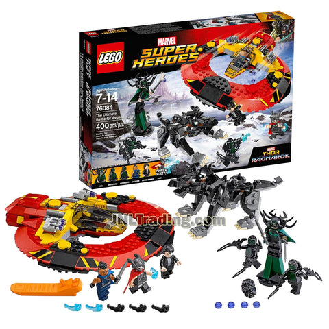 Lego Year 2017 Marvel Super Heroes Thor Ragnarok Series Set 76084 - THE ULTIMATE BATTLE FOR ASGARD with Commodore Spaceship, Fenris Wolf, Valkyrie, Bruce Banner, Thor, Hela & 2 Bersekers (400 Pcs)