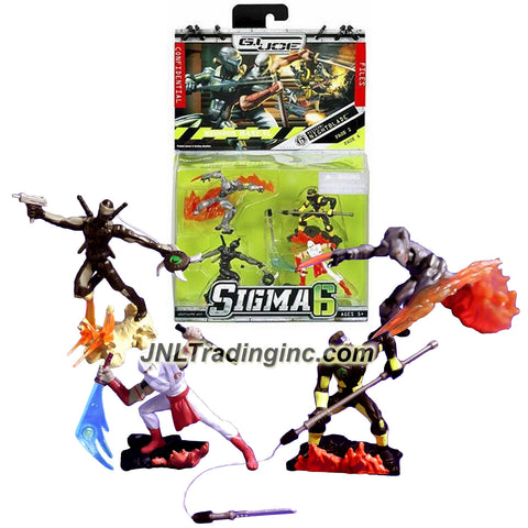 Hasbro Year 2006 G.I. JOE Sigma 6 Mission Manual Series 2-1/2 Inch Tall Action Figure - NIGHTBLADE with Ninja B.A.T., Storm Shadow with Sword, Snake Eyes with Whipstar and Kamakura with Swinging Action