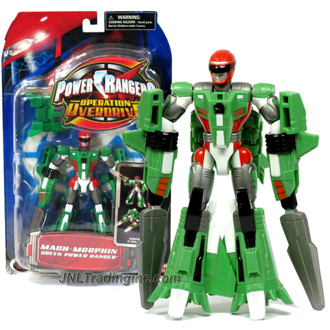 Bandai Year 2006 Power Rangers Operation Overdrive Series 6 Inch Tall Action Figure : MACH-MORPHIN GREEN POWER RANGER that Morphs to Jet Plane