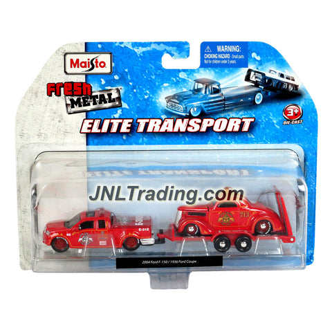 Maisto Fresh Metal Elite Transport Series 1:64 Scale Die Cast 2 Pack Car Set - Red 2004 Ford F-150 with Flatbed Trailer and 1936 Ford Coupe