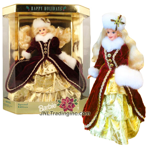 Mattel Year 1996 Barbie Hallmark Special Edition 12 Inch Doll - HAPPY HOLIDAYS BARBIE in Burgundy Gown with Faux Fur Trim, Hat and Muff Plus Golden Brocade Underskirt, Ring, Earrings, Shoes, Hair Brush and Doll Stand
