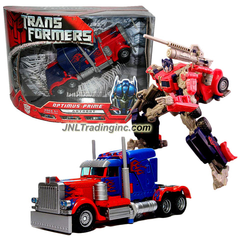 Hasbro Year 2007 Transformers Movie Automorph Technology Series 7 Inch Tall Voyager Class Robot Action Figure - Autobot OPTIMUS PRIME with Smokestacks that Convert to Cannons and 2 Missiles (Vehicle Mode: Rig Truck)