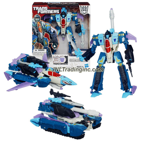 "Hasbro Year 2013 Transformers Generations ""Thrilling 30"" Series Triple Changer Voyager Class 7 Inch Tall Robot Action Figure - Decepticon DOUBLEDEALER with Sword, Blaster, Missile Launcher and 1 Missile (Alternative Mode: Fighter Jet or Battle Tank)"