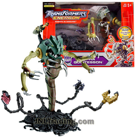 Transformers Year 2004 Energon The Powerlinx Battles Series 8 Inch Tall Figure - ALPHA QUINTESSON with Three Different Faces and Poseable Spinning Tentacles
