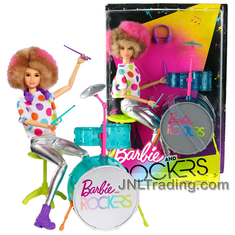 Year 2017 Barbie and The Rockers Series 12 Inch Doll - Caucasian Afro Hairstyle DRUMMER with 3 Piece Drum Set with Cymbal, Stool, Headphones and Drumsticks