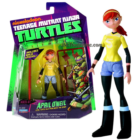 Playmates Year 2012 Nickelodeon Teenage Mutant Ninja Turtles 5 Inch Tall Action Figure - Loyal Turtle Ally from Above the Sewer APRIL O'NEIL with Bo Staff, Wooden Sword, Kendo Stick, Tonfa and Shuriken Stars