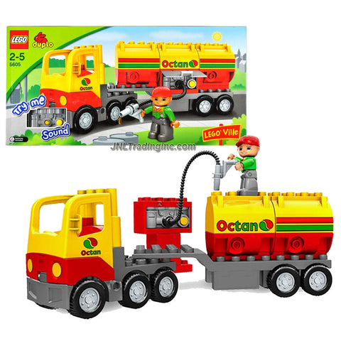 Lego Year 2008 Duplo Lego Ville Series Vehicle Set # 5605 - OCTAN TANKER Truck Set with Sounds and Driver Minifigure (Total Pieces : 17)