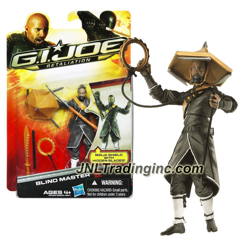 "Hasbro Year 2012 G.I. JOE Movie Series ""Retaliation"" 4 Inch Tall Action Figure - BLIND MASTER with Flute, Broadsword, Cane Stick with Hidden Blade, Flying Saw, Hat with Hidden Blade and Display Base"