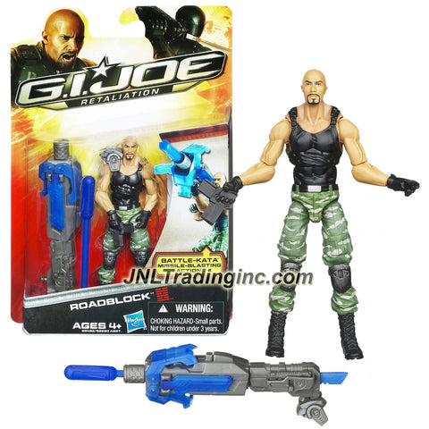 Year 2011 G.I. JOE Movie Retaliation Series 4 Inch Tall Figure - ROADBLOCK with Attached Hand Grip to Activate Features Plus Pop Up Blade and Missile Launcher