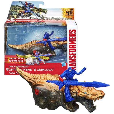 Hasbro Year 2014 Transformers Movie Age of Extinction Dino Sparkers Series 6 Inch Long Action Figure Racer - OPTIMUS PRIME and GRIMLOCK with Battle Spark FX