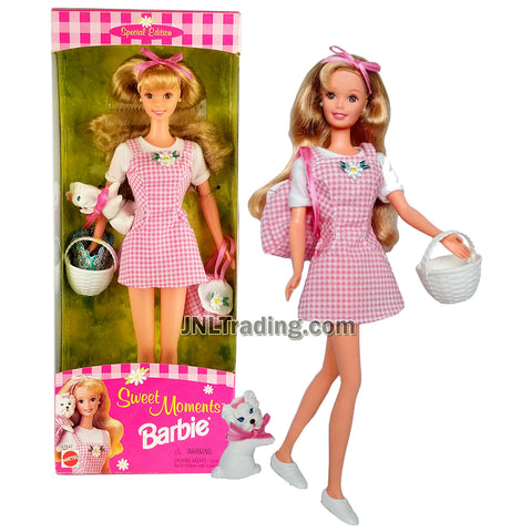 Year 1996 Barbie Special Edition Series 12 Inch Doll - SWEET MOMENTS BARBIE in Pink Checker Dress with Backpack, Basket and Yorkshire Terrier Puppy