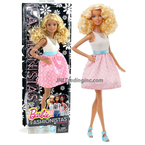 Mattel Year 2015 Barbie Fashionistas Series 12 Inch Doll - BARBIE (DGY57) in Baby Doll Dress with White Patterned Top, Pink Skirt and Blue Ribbon Sash Plus Necklace