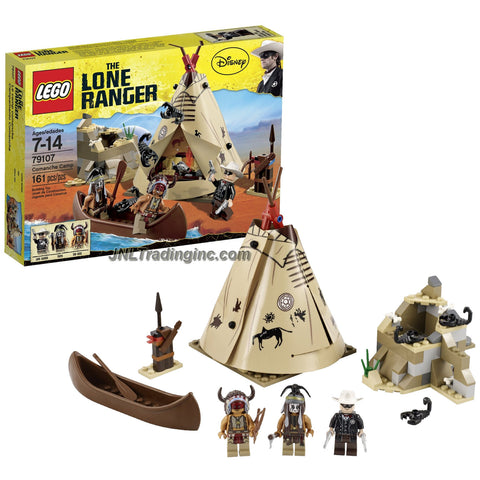 Lego Year 2013 The Lone Ranger Movie Scene Set #79107 - COMANCHE CAMP with Teepee, Weapon Rack, Canoe with Oar and Rocky Outcrop with Scorpion Plus The Lone Ranger, Tonto and Red Knee Minifigures (Total Pieces: 161)