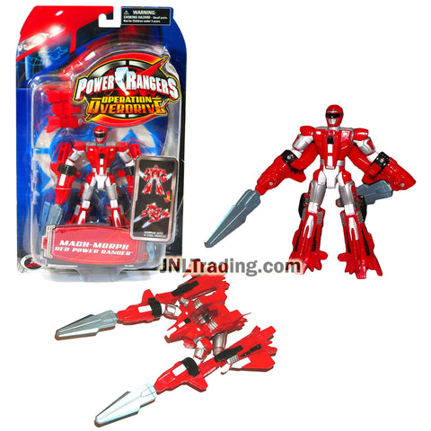 Year 2006 Power Rangers Operation Overdrive Series 6 Inch Tall Action Figure : MACH-MORPHIN RED POWER RANGER that Morphs to Jet Plane