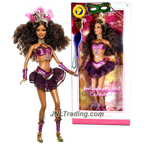 Mattel Year 2005 Barbie Collector Pink Label Festivals of the World Series 12 Inch Doll - CARNAVAL BARBIE with Brazilian Festival Outfit, Tiara, Necklace & Collector Card