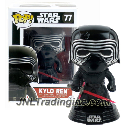 Funko Year 2015 Pop! Star Wars The Force Awaken Movie Series 4 Inch Tall Vinyl Bobble Head Figure #77 - KYLO REN with Red Lightsaber and Display Base